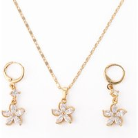2018 new fashion jewelry,gold plated earring and pendant necklace wedding jewelry set with cubic zirconia design for woman