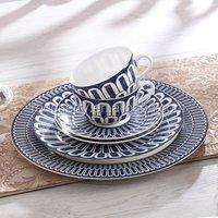 6pcs/set new European style dinnerware setnavy blue rimmed bone china dinner plate