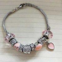 'Promotional Silver Plating Pink Murano Glass Beads European Style Women's Charm Pandora 925 Bracelet Original