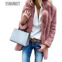 S-3XL Fluffy Faux Fur Cardigan Coats Thick Plus Size Tops Solid Color Long Sleeve Lapel Women Fleece Coat Winter Clothing ELG005