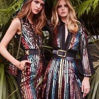 New arrivals fashion long sleeve sequin dress with belt women club evening dress