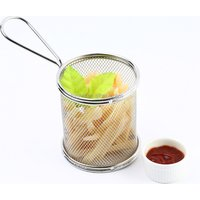 Mini Deep Fry Serving Basket Stainless Steel table serving basket Wire mesh small round chip basket F0053