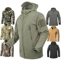 Mens Army Fans Military Tactical Jacket Camouflage Waterproof Softshell Hoody Hiking Camping Jacket Coat Army Cargoes Jacket