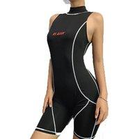'Women Turtleneck Sleeveless Fitness Playsuit Striped Letter Print Skinny Bodysuit Biker Shorts Jumpsuit Clothing