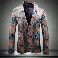 Europe Party Dress Suit Digital Printed Slim Fit Men Blazer for Weeding