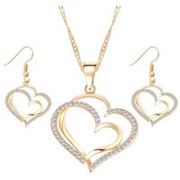 Romantic Heart Pattern Crystal Earrings Necklace Set gold Color Chain Jewelry Sets NS811185