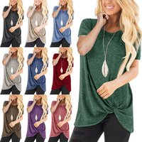 13Colors Womens Fashion Spring Summer Casual Short Sleeve Tunic Tops Round Neck Irregular Shirts Ladies Pure Color Knot Blouses