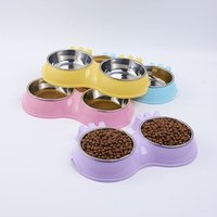 'Candy Color Stainless Steel Double Pet Bowls Pet Cat Dog Puppy Food Water Bowl