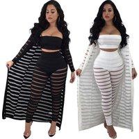 FM-S3365 Wholesale women clothing fashion hollow out cloak chest wrap pants sexy 3 Piece Set Women