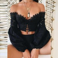 in stock Cotton Slim and Crop Top and Lace Up Long Sleeve Nightclub Top with high quality 197620
