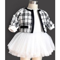 Baby spring autumn plaid clothing set princess white yarn skirt infant baby girl clothes newborn rompers