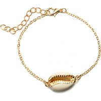 new arrivals 2019 Amazon Hot personalized gold plated thin chain cowry seashell charm bracelet set for women and girl