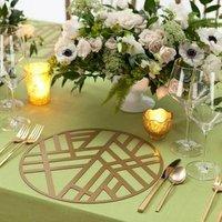 Wedding table Gold Edge Metal Pattern Round felt Placemat