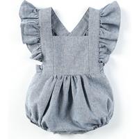 Baby Little Girls Romper Wear Newborn Flare Short Sleeve Clothing Solid Dark Blue Toddler Pajama Clothes
