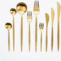 Wedding Party Dinnerware Set Stainless Steel 18/8  Gold Plated Flatware Set Fork Knife Spoon Hotel Restaurant Cutlery Set