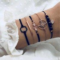 Fashion Gold charm rhinestone heart bracelet set for women wholesale N96274