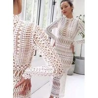 sexy Turtleneck hollow out lace white lace long sleeve bandage hip pencil slim sexy dress for woman evening Party midi dresses