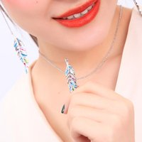 xl01431d Elegant Colorful Gold Plated Leaf Jewelry Set Wholesale Women Fashion Facebook Blogger Classic Necklace Pendant