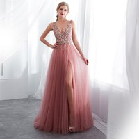 2019 Suzhou Wholesale Long Girls Sparkly Beaded Graduation Party Gown Sexy Open Leg Prom Dress