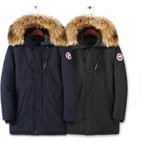 Mens new winter down jacket long thick hooded coat
