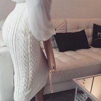 C89021A latest mature women skirt winter knit maxi skirt