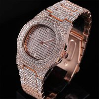 Top Brand Luxury Iced Out Watch Gold Diamond Watch for Men Square Quartz Waterproof Wristwatch