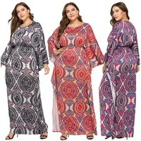 Factory Wholesales Noble Vintage Plus Size Batwing Sleeve  Floral Maxi Dresses Dolman Sleeve Boho Fit Flare Side Slit Skirt