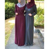 Women Abaya Moroccan Kimono Dubai Turkey Bangladesh Islamic Clothing Kaftan Arabic Elbise Muslim Dress Black Blue Green RELR206