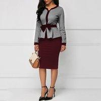 Office Ladies Elegant Women Bodycon Dresses Tunic Autumn Long Sleeve High Waist Large Size Female Vintage Dress Y11146