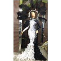 DjDs Catwalk Gogo Feather Headdress Black And White Dresses Stage Show Luxurious Rhinestones Evening Dress  DJ374