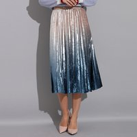 Gradient Skirt Pleated Long Skirt Woman Elegant High Waist A-Line Pleated School Midi Skirt Metallic Multi-Color Female Autumn