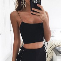 Summer Bulk Sleeveless Women Straps Solid Fitness Top Lady Casual Tank Top Sexy Female Crop Tops