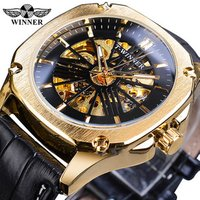 Winner Men Luxury Leather Watch Classic Square Dial Mechanical Wrist Watches For Men