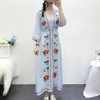 YSMARKET Women Floral Dresses Bohemia Embroidery Holiday Beach Robe Slim Waist Tunic Long Maxi Dress E1657