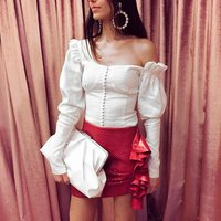 One Shoulder Asymmetrical White Blouse Tops Women Sexy Puff Sleeve Shirts Tops Female Ruffle Autumn Tunic Blouse Casual Y11150