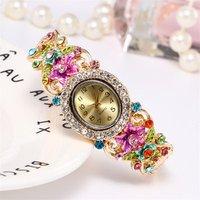 New Fashion Luxury Women Multicolor Rhinestone Bangle Watch Flower Bracelet Quartz Watch
