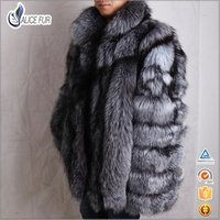 ALICEFUR High quality man jacket coat middle long natural silver fox fur coat for men
