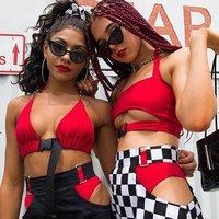 Women Sexy Front Buckle Bralette Bra Halter Neck Crop Top Unpadded Bandeau Tops for Rave,Party,Clubwear