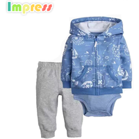 Soft cotton baby clothing set baby boy cardigan cloth set with bodysuit
