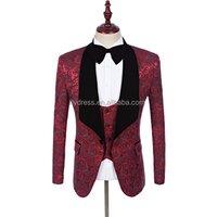 Men Wedding Suit Red Groom Tuxedo Stage Costumes For Singer Custom Made Male Suit With Pants Best Man Blazer (Jacket+Pants+Vest)