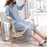 100% cotton lady lace robe girls lovely sleep skirt long sleeves night dress, lady warm pijamas, female leisure wear kimono robe