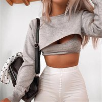 street style blank high quality sexy hollow out batwing sleeve  crop top wholesale women hoodies