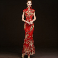 fashion 5 colors Chinese Women ladies elegant evening party sequin embroidered fish tail wedding cheongsam qipao evening dress