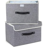 Storage Box Foldable Home Storage Box Cube with Lids  Handles Fabric Storage Basket Bin Organizer Collapsible Drawers for Home