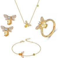 Unique Fashion Yellow Golden Crystal Bee Stud Earrings Rings CZ Pendant Bracelet Necklace Wedding Jewelry Set for Women Men