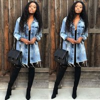 Denim Jacket Women Hole Boyfriend Style Long Sleeve Vintage Jean Jackets Loose Jean Coat XXXL Y11319