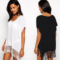 New Short Sleeve Chiffon Tassel  Loose Shirt Womens Beach Cover Up Sun Protection Clothing