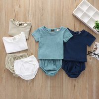 Toddler Kids Baby Girls Outfit Clothes Short Sleeve Linen T-shirt Tops + Bloomer Shorts Clothing Set