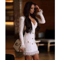 A2709 Long Sleeve Tassel  Bodycon V Neck Lattice Evening Dress
