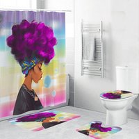 Better Design African American Women Shower Curtain Set For Bathroom, 2019 Black Girl Magic Shower Curtain Water Repellent/